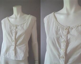 Edwardian Corset Cover -  Vintage White Cotton Crochet Lace Button Front Camisole - Plus Size