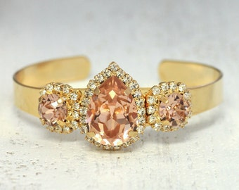 Wedding Bracelet,Bridal Bracelet,Blush Bridal Bracelet,Blush Swarovski Bracelet,Gold Cuff Crystal Bracelet,Peach Bridal Bracelet