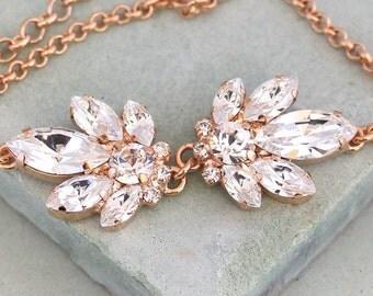 Bridal Bracelet,Bridal Swarovski Crystal Bracelet,Clear Crystal Bracelet,Bridesmaids Rose Gold Bracelet,Bridal Crystal Rose Gold Bracelet