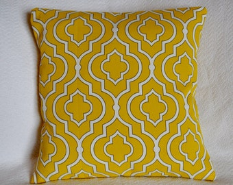 CLEARANCE!! Mustard Yellow and White Lattice Design with Black Outline Detail 18x18 Pillow Cover