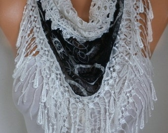 Black & White Lace Scarf  Christmas Gift Shawl Bridesmaids Gift Gift Ideas For Her Women's Fashion Accessories Women Scarves
