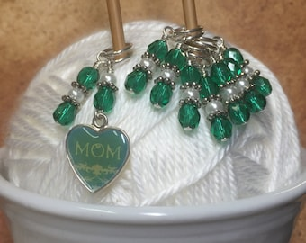 Mom Stitch Marker Set- Snag Free Stitch Markers- Gifts for Knitters- Teal Heart Knitting Marker
