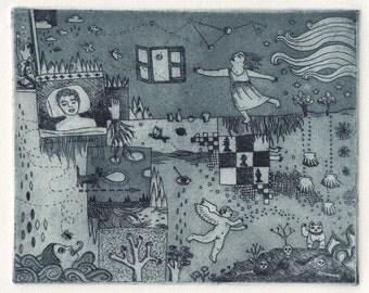 Voyage to Salamanca –Original Aquatint Etching Intaglio Handmade Fine Art Print 10.43 x 7.87 inch