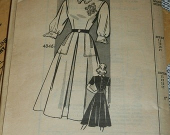 "Vintage 1940s Anne Adams Mail Order Pattern 4846 for Misses Dress, Size 15, Bust 33"", Waist 27"", Hips 36"""