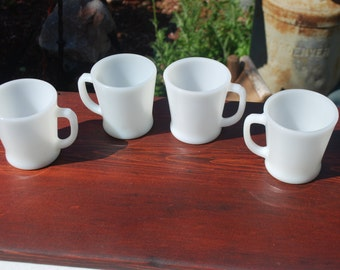 Vintage white Fire King D handled coffee cups