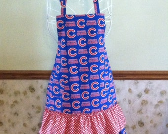 Chicago Cubs Baseball Full Ruffle Apron for Ladies