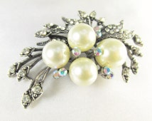 Off White Pearl Vintage Style Antique Silver Brooch with Clear and Crystal AB Crystals for bridal bouquet or jewelry decoration