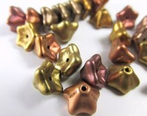 Metallic Bead Mix Czech Glass 6x 9mm Bell Flower Jewelry Beads in gold, copper, mauve, and olive green - 1 strand of 25 beads