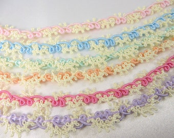 Easter Pastel Pale Pink, Baby Blue, Mint Green, Peach, Bright Pink and Lavender Ivory Buttercream Narrow 8mm Picot Gimp Trims