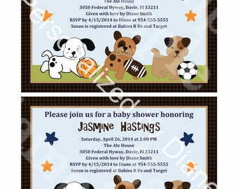 Editable Bow Wow Puppy Sport Buddies Printable Baby Shower 5x7 inch Invitation Editable PDF Instant Download