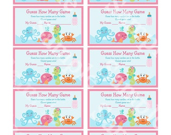 Printable Under the Sea Ocean Baby Shower Guess How Many Game Instant Digital Download