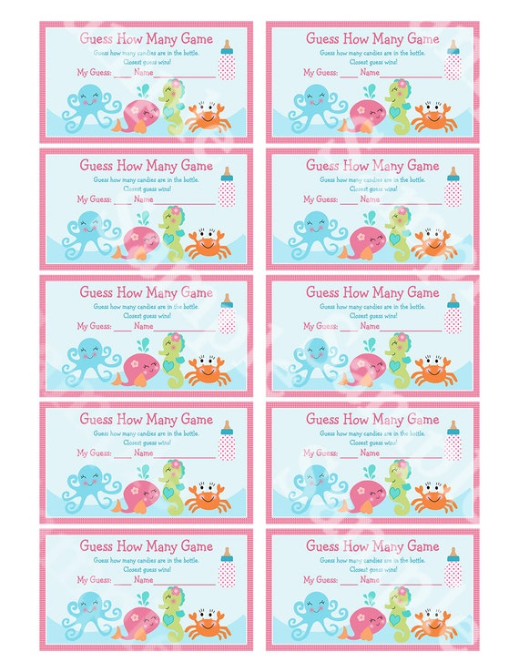 Printable Under The Sea Ocean Baby Shower Guess How Many Game