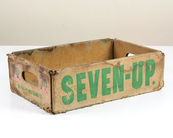 Vintage Red and Green 7UP Crate, Seven Up Box, Wooden and Paper Advertising from 1960s, 7up Collector, Plastic Coated Paper