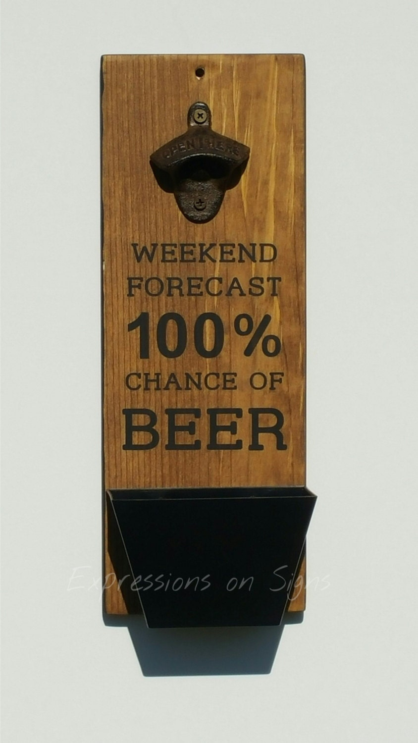 Bottle opener and cap catcher wall mount wood sign funny - Wall mounted beer bottle opener cap catcher ...