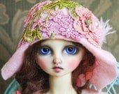 Gorgeous Pink Felt Flapper Hat With Hand Dyed Lace and Flowers