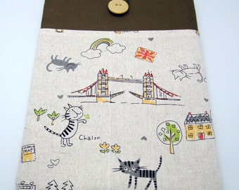iPad Air case, iPad cover, iPad sleeve/ Samsung Galaxy Tab 3 10.1with 2 pockets, PADDED - Cats in the city