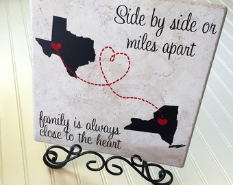 Side by side or miles apart family is always close to heart ceramic tile, home decor,long distance gift,custom tiles,personalized tile,12x12
