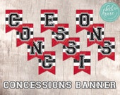 Hockey Party CONCESSIONS printable banner  INSTANT DOWNLOAD!