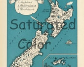 NEW ZEALAND Map Digital Download vintage picture map DIY print & frame 8x10 or for Pillows Totes Cards Wedding Paul Spener Johst Auckland