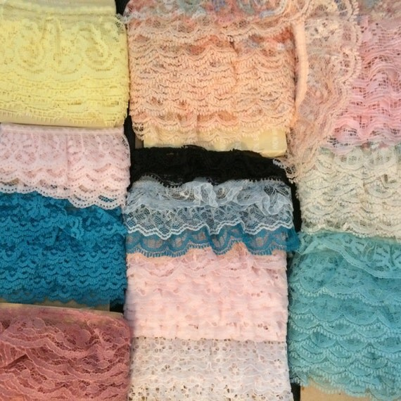 25 Yards of Colorful Lace Grab Bag Crafting Supply Millinery Destash Blue Pink Green Yellow