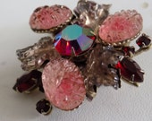 Vintage brooch, retro molded glassberries and flowers, AB and red marquise crystals brooch, Beau Jewels or Judy Lee brooch, vintage jewelry