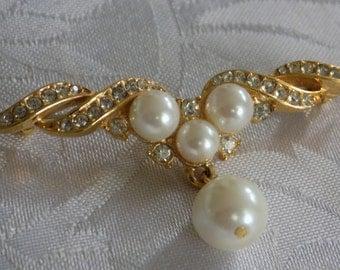 "Vintage brooch, pearls and crystals ""Wings"" brooch, retro jewelry, elegant jewellery"