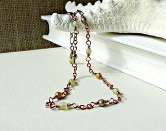 Beaded Green Anklet, Earthy Copper Ankle Chain, Dainty Summer Ankle Bracelet