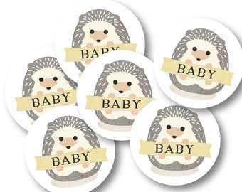 Circle Stickers, Baby Shower Party Decor, Favor Stickers, Party Décor // BABY HEDGEHOG