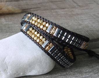 Metal Beaded Wrap Silver Nuggets Beaded Simulated Leather Wrap Bracelet 11704