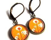 Orange Flower Glass Earrings Retro Fashion Jewelry