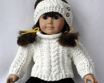 Knitting PATTERN Doll Aran Sweater and Warmer  Set for American Dolls and 18 inch dolls