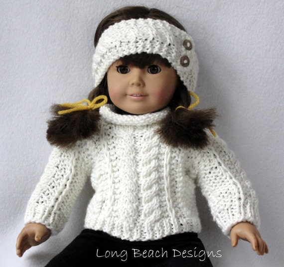 Knitting Pattern Doll Cardigan : Knitting PATTERN Doll Aran Sweater and Warmer Set for