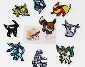 "Iron-On Pokemon Patches Machine Embroidered 2"" small size eevee jolteon flareon vaporeon espeon umbreon leafeon glaceon sylveon eeveelutions"