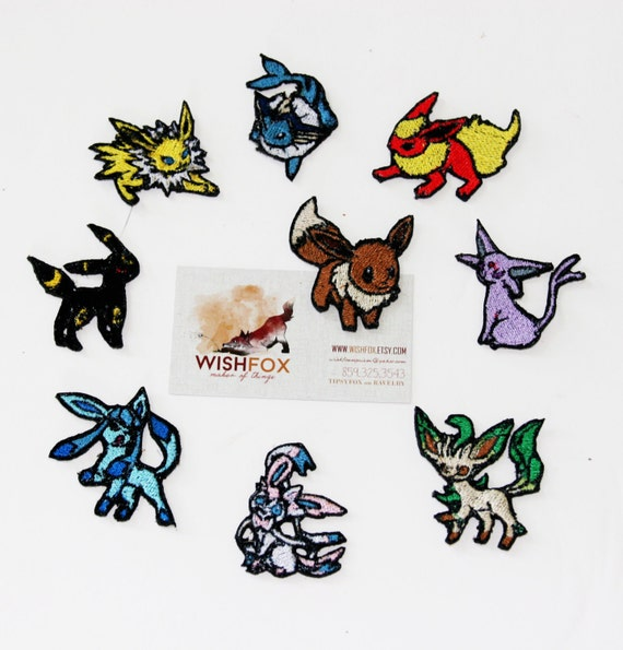 "Iron-On Pokemon Patches Machine Embroidered 2"" small size eevee jolteon flareon vaporeon espeon umbreon leafeon glaceon sylveon eeveelutions"