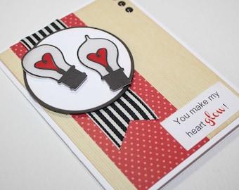 Light bulb Love Card / Wedding or Anniversary Card / Handmade