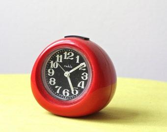 Vintage East German Red Winding Alarm Clock