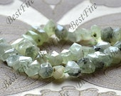 15inch Single Faceted  prehnite stone nugget ,stone nugget beads, prehnite loose semi-precious stone beads, prehnite crystal loose strands