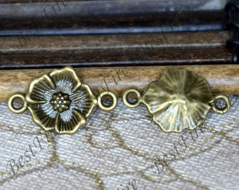 20PCS Of 15x24 MM  Antique Bronze Connector flower,metal finding,pendant beads,two holes Charms,flower findings,finding beads
