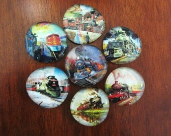 TRAIN MAGNETS Strong Glass Bubble Magnets Set of 7