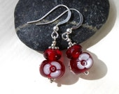 Red Flower Glass Earrings, Sterling Silver, Lampwork, Glass Jewelry,  Red Glass, Lampwork Jewelry, Earrings, Flowers
