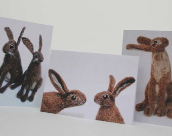 Brown Hare blank greetings cards