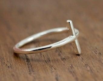 sideways cross ring, silver plated, minimalist