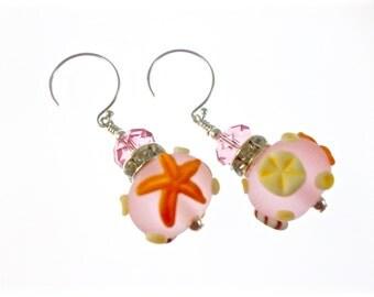 Seashell Lampwork Earrings, Glass Bead Earrings, Pink Beach Earrings, Glass Bead Jewelry, Beadwork Ocean Earrings, Lampwork Jewelry