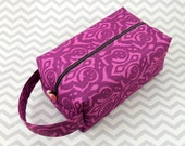 Large Box Bag, Travel Bag or Project Bag With Handle - Purple