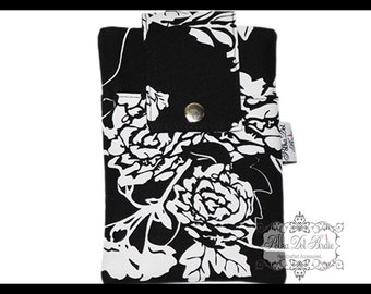 Black & White Rose Zipper Cell Phone Holder, Wallet, iPhone Case, Samsung Case, Droid, Phone Case