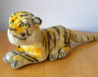 Vintage Tiger - Small Tiger Toy - 9 inch German Tiger - 1930's Toy - Old Toy Tiger