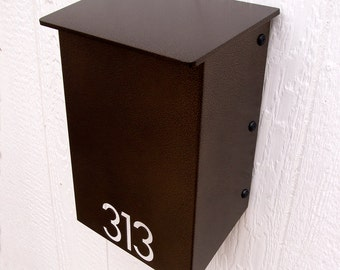 Custom House Number Mailbox No. 1011 Wrap-Front in Powder Coated Aluminum Modernist Edition
