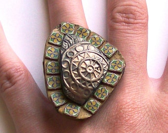 Yellow bronze mosaic cocktail ring polymer clay oversize statement ring in green yellow and bronze mini flowery tiles