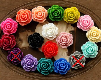Wholesale Beautiful Mix Colorful Rose Flower Resin Cabochon   -16colors  -19mm(CAB-CB -MIXSS )