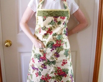 Womans Full Apron in Grape Covered Fabric - Simple Apron, Butcher Apron, Womens Apron